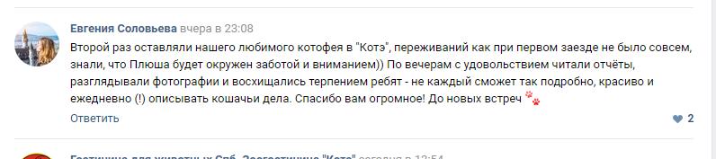 Скрин отзыва Евгении Соловьёвой о котике Плюше